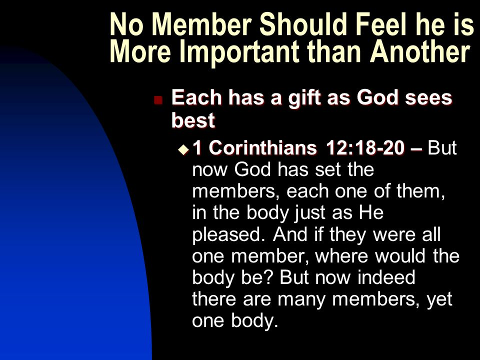 No Member Should Feel he is More Important than Another Each has a gift as God sees best Each has a gift as God sees best  1 Corinthians 12:18-20 –  1 Corinthians 12:18-20 – But now God has set the members, each one of them, in the body just as He pleased.