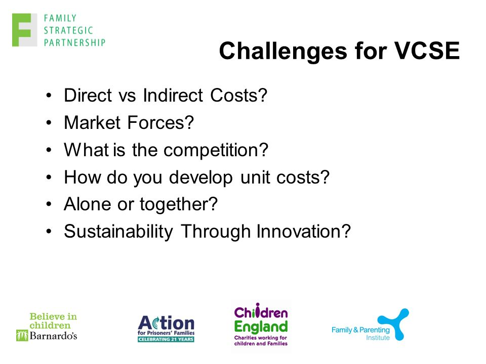 Challenges for VCSE Direct vs Indirect Costs. Market Forces.