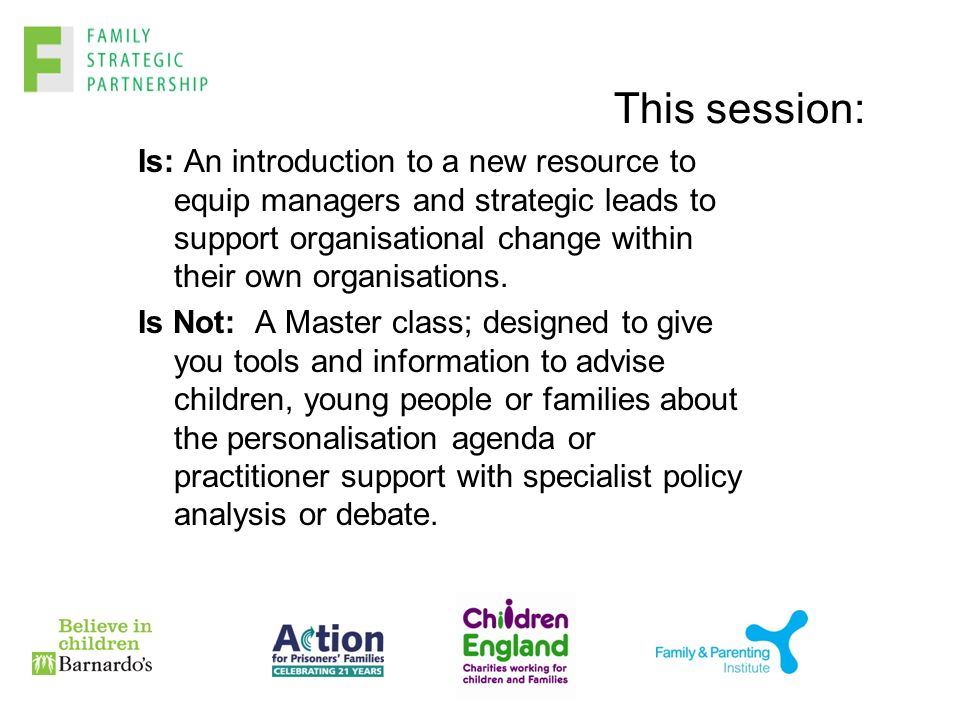 This session: Is: An introduction to a new resource to equip managers and strategic leads to support organisational change within their own organisations.