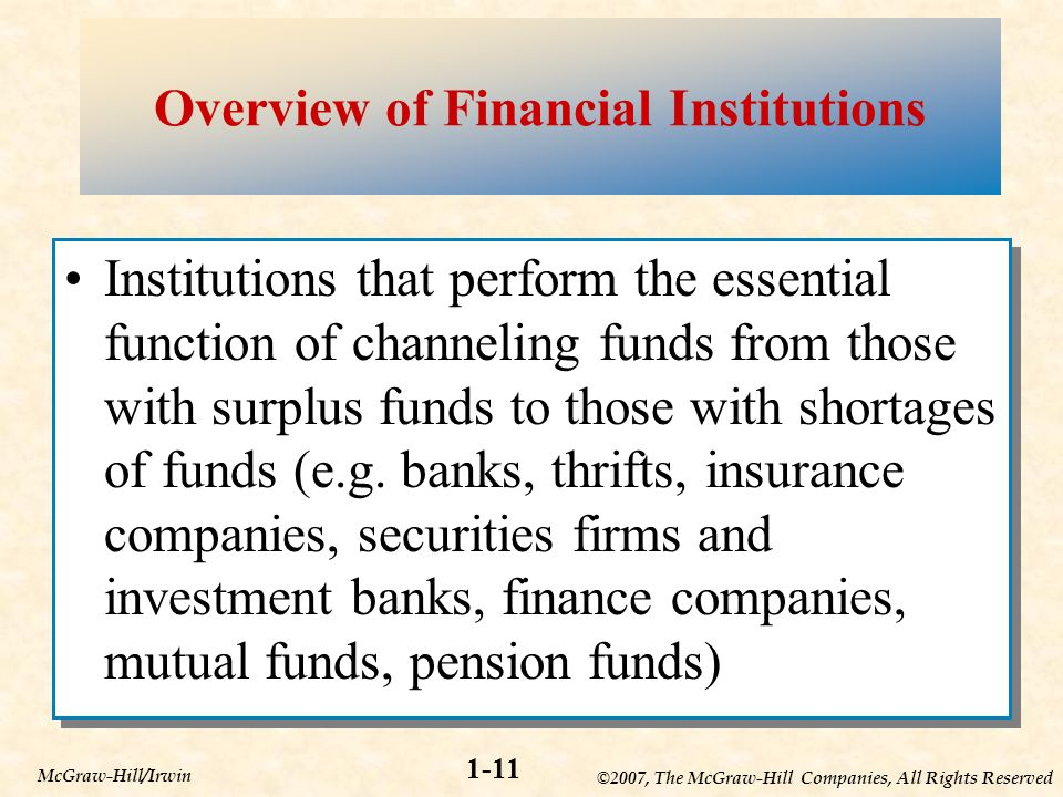 ©2007, The McGraw-Hill Companies, All Rights Reserved 1-11 McGraw-Hill/Irwin Overview of Financial Institutions Institutions that perform the essential function of channeling funds from those with surplus funds to those with shortages of funds (e.g.