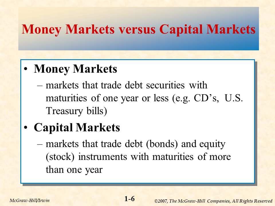©2007, The McGraw-Hill Companies, All Rights Reserved 1-6 McGraw-Hill/Irwin Money Markets versus Capital Markets Money Markets –markets that trade debt securities with maturities of one year or less (e.g.