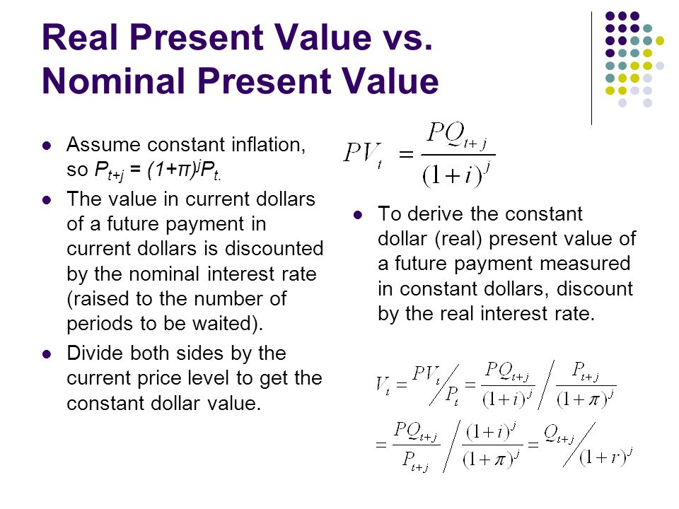 Real Present Value Vs Nominal Ume Constant Inflation So P T
