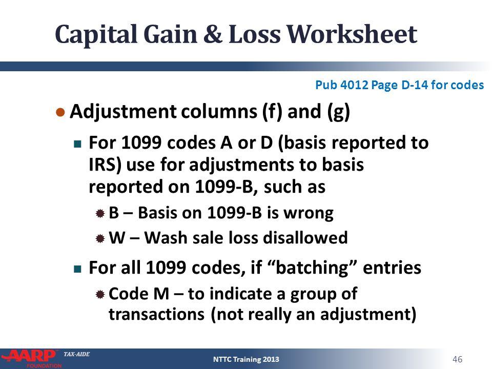 Taxaide Capital Gain Or Loss Form 1040line 13 Pub 4012d13. Worksheet. Capital Gains And Losses Worksheet At Mspartners.co