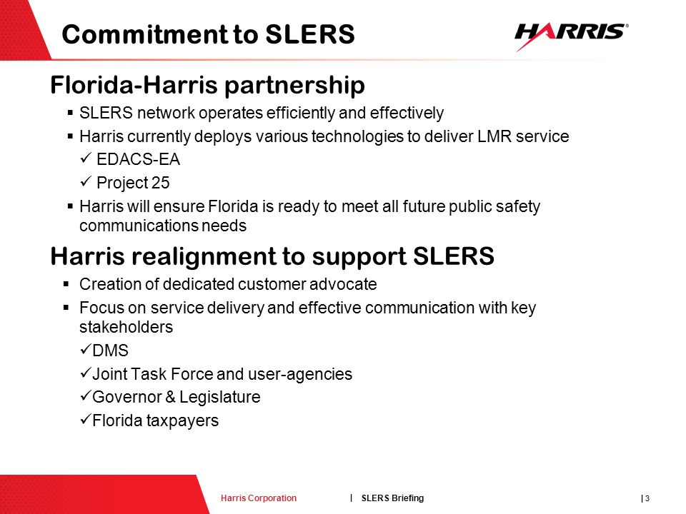 1 SLERS Briefing | Harris Corporationharris com Create your
