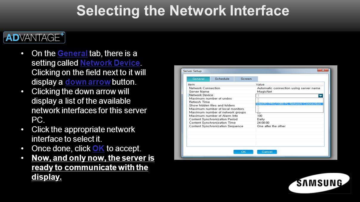 Selecting the Network Interface On the General tab, there is a setting called Network Device.