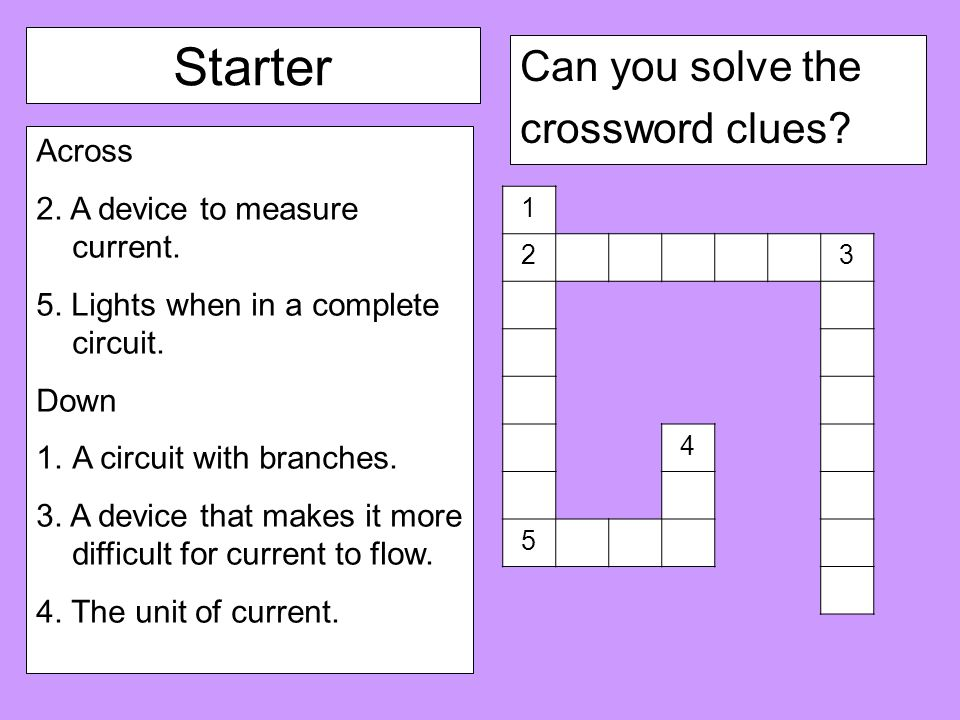 Starter Can You Solve The Crossword Clues Across 2
