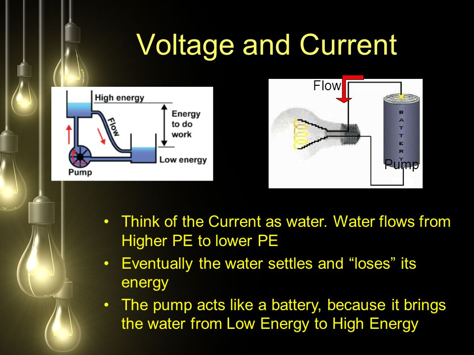 Voltage and Current Think of the Current as water.