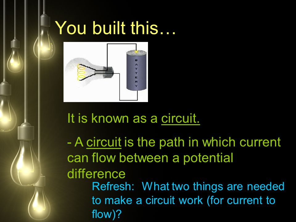 You built this… It is known as a circuit.
