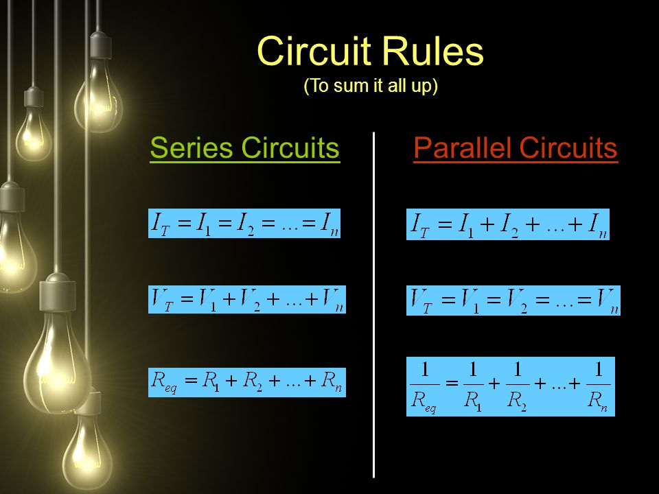 Series CircuitsParallel Circuits Circuit Rules (To sum it all up)
