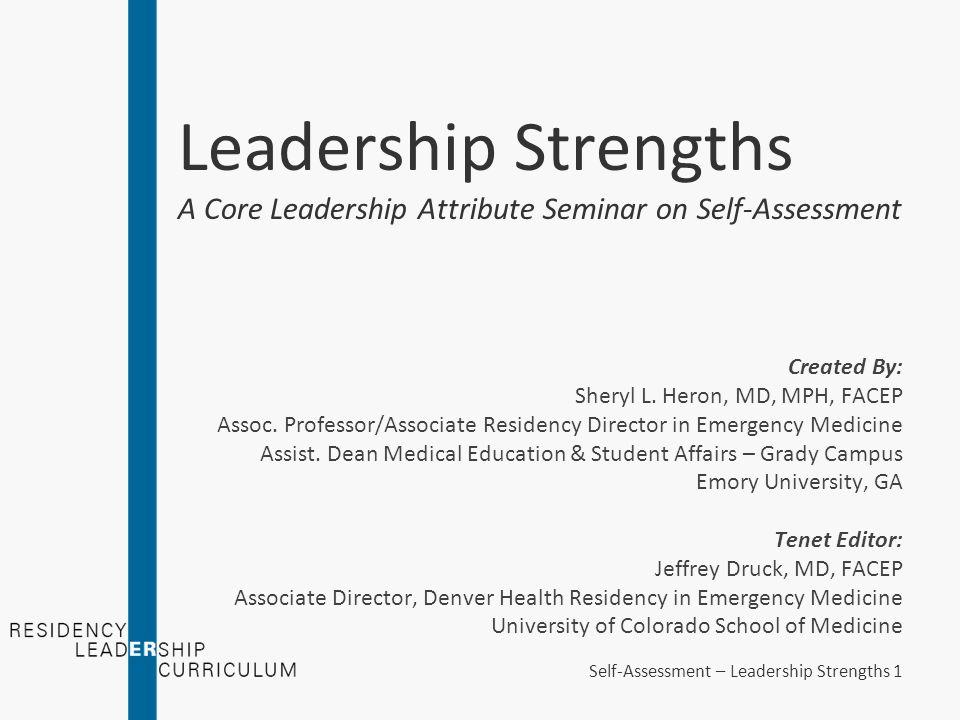 Leadership Strengths A Core Leadership Attribute Seminar on Self ...
