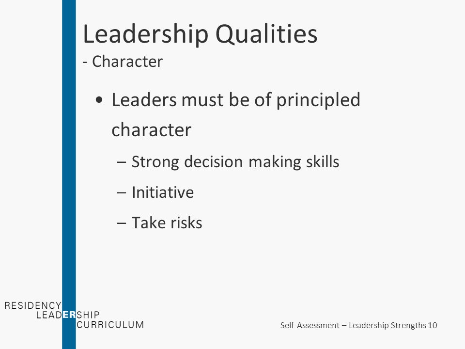 self analysis of personality and leadership qualities Leadership self-assessment leadership potential self-assessment the leadership potential assessment (lussier & achua, 2010, p 3) yielded a score of 31 where the range was from 0 to 35 0 representing low leadership potential and 35 representing the highest leadership potential.
