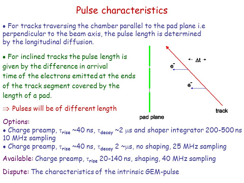 Pulse characteristics  For inclined tracks the pulse length is given by the difference in arrival time of the electrons emitted at the ends of the track segment covered by the length of a pad.