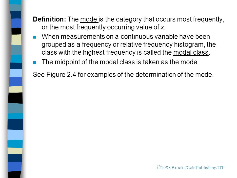 Definition: The mode is the category that occurs most frequently, or the most frequently occurring value of x.