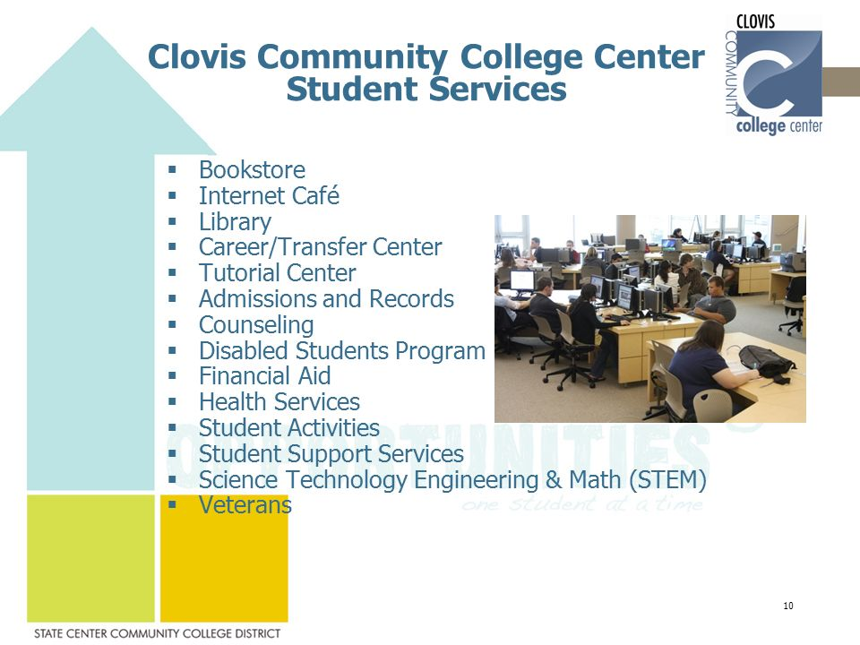 Clovis Community College Center Student Services  Bookstore  Internet Café  Library  Career/Transfer Center  Tutorial Center  Admissions and Records  Counseling  Disabled Students Program  Financial Aid  Health Services  Student Activities  Student Support Services  Science Technology Engineering & Math (STEM)  Veterans 10