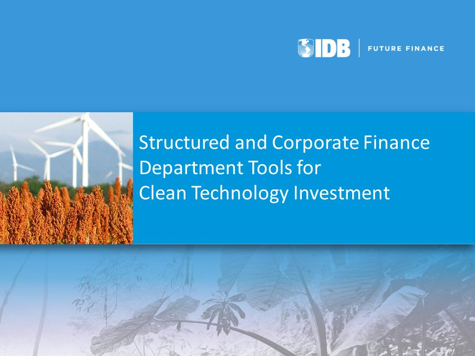 Structured and Corporate Finance Department Tools for Clean Technology Investment