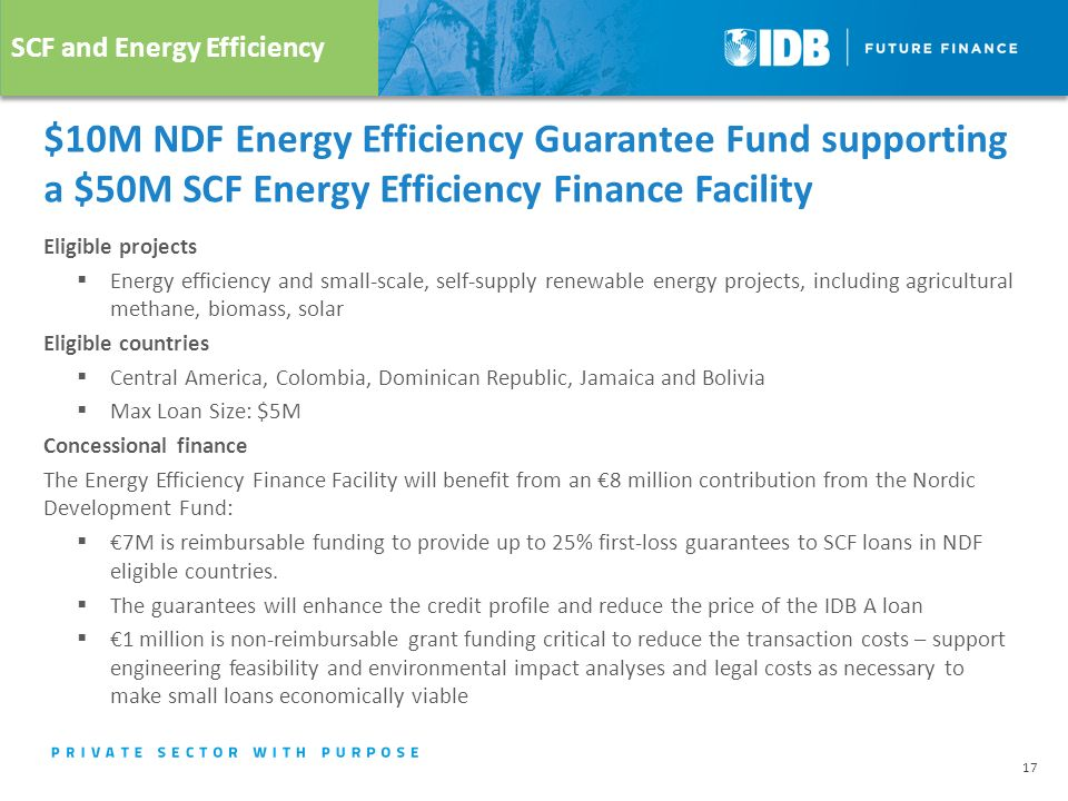 $10M NDF Energy Efficiency Guarantee Fund supporting a $50M SCF Energy Efficiency Finance Facility Eligible projects  Energy efficiency and small-scale, self-supply renewable energy projects, including agricultural methane, biomass, solar Eligible countries  Central America, Colombia, Dominican Republic, Jamaica and Bolivia  Max Loan Size: $5M Concessional finance The Energy Efficiency Finance Facility will benefit from an €8 million contribution from the Nordic Development Fund:  €7M is reimbursable funding to provide up to 25% first-loss guarantees to SCF loans in NDF eligible countries.