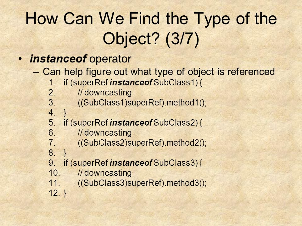 How Can We Find the Type of the Object.