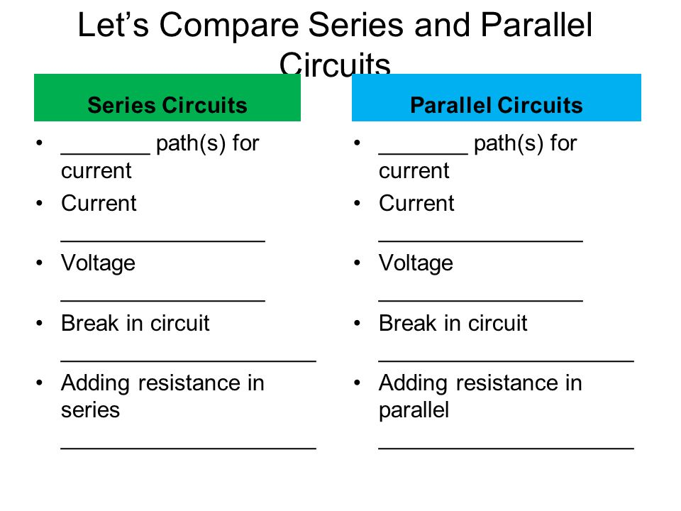 Let's Compare Series and Parallel Circuits Series Circuits _______ path(s) for current Current ________________ Voltage ________________ Break in circuit ____________________ Adding resistance in series ____________________ Parallel Circuits _______ path(s) for current Current ________________ Voltage ________________ Break in circuit ____________________ Adding resistance in parallel ____________________