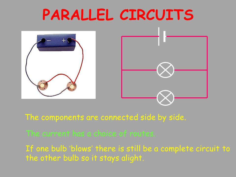 PARALLEL CIRCUITS The current has a choice of routes.