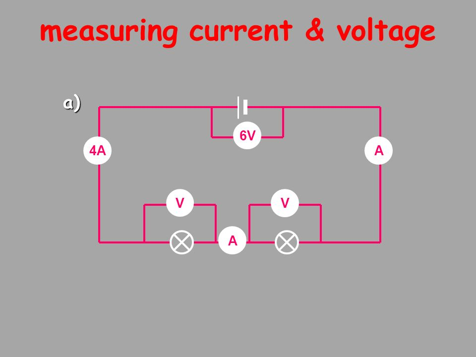 measuring current & voltage V V 6V 4A A A a)