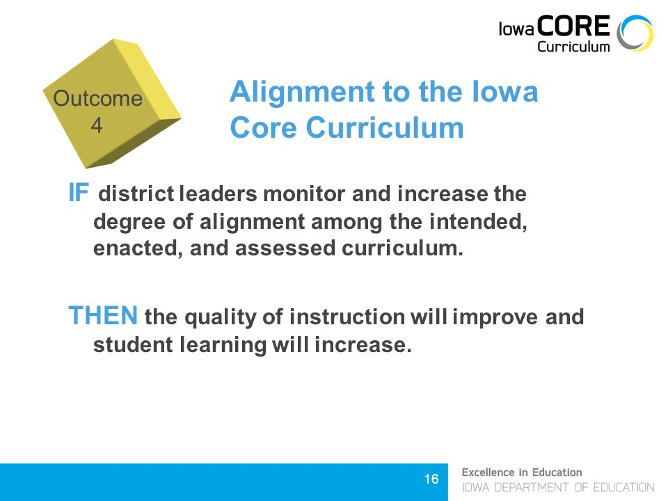 16 Alignment to the Iowa Core Curriculum IF district leaders monitor and increase the degree of alignment among the intended, enacted, and assessed curriculum.