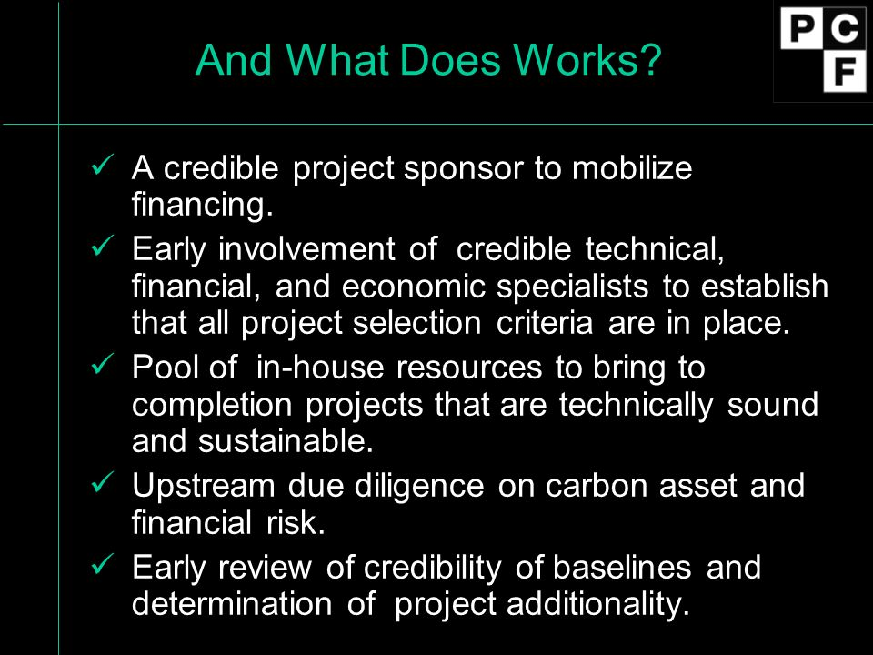 And What Does Works. A credible project sponsor to mobilize financing.