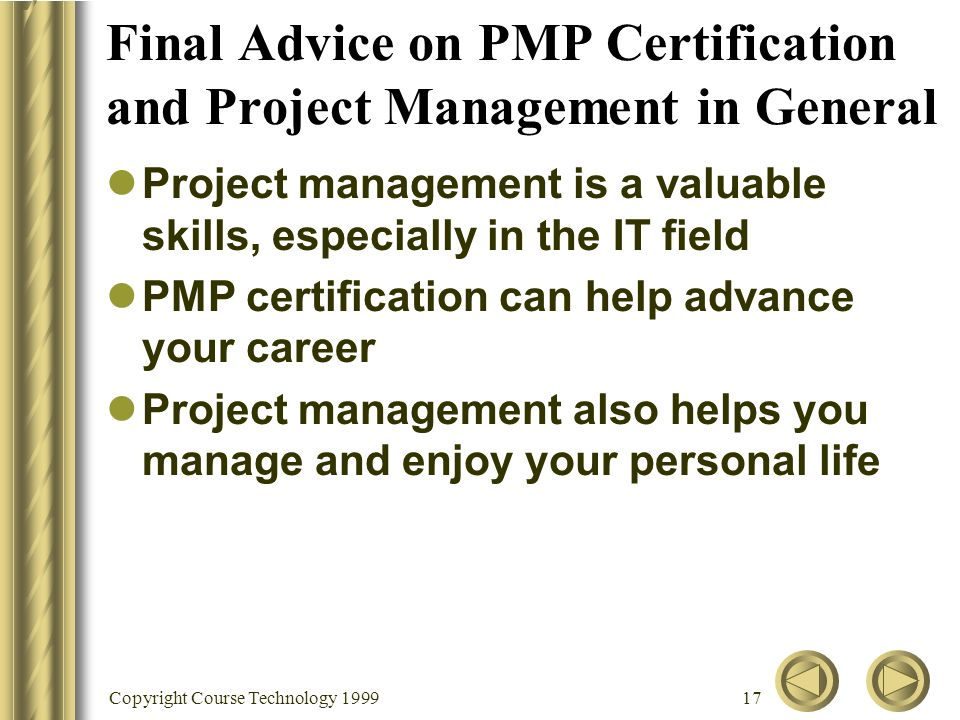 Copyright Course Technology Appendix B Advice For The Pmp Exam