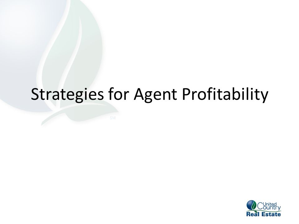 Strategies For Agent Profitability Addendum To The Independent
