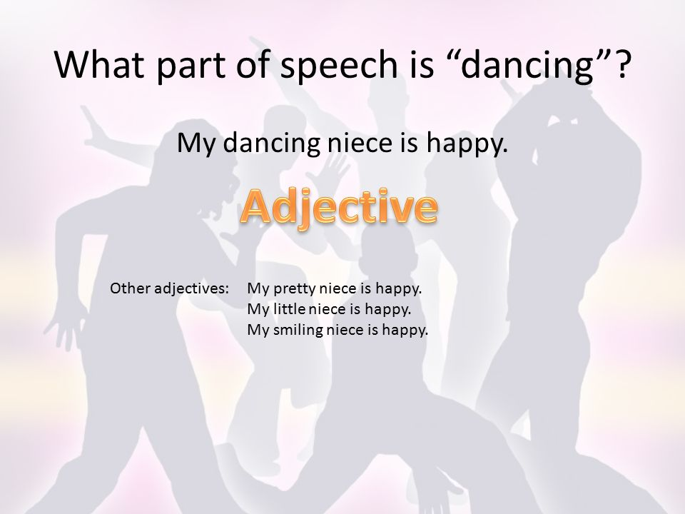 What part of speech is dancing . My dancing niece is happy.