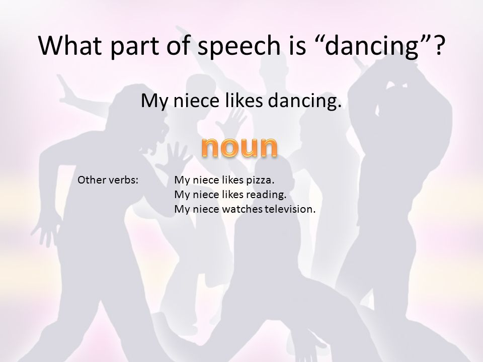What part of speech is dancing . My niece likes dancing.