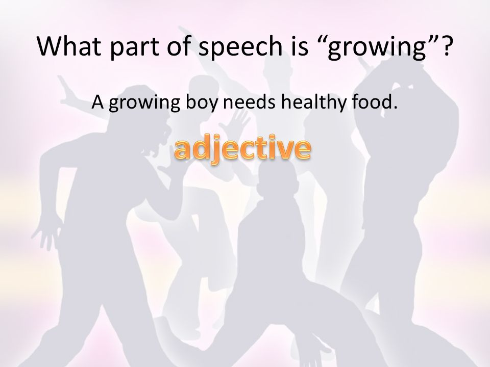 What part of speech is growing A growing boy needs healthy food.