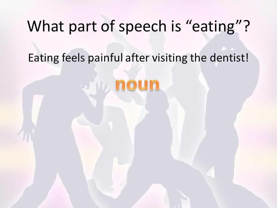 What part of speech is eating Eating feels painful after visiting the dentist!