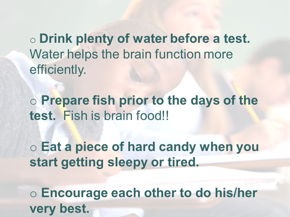 Websites for Sample Standardized Tests o Drink plenty of water before a test.