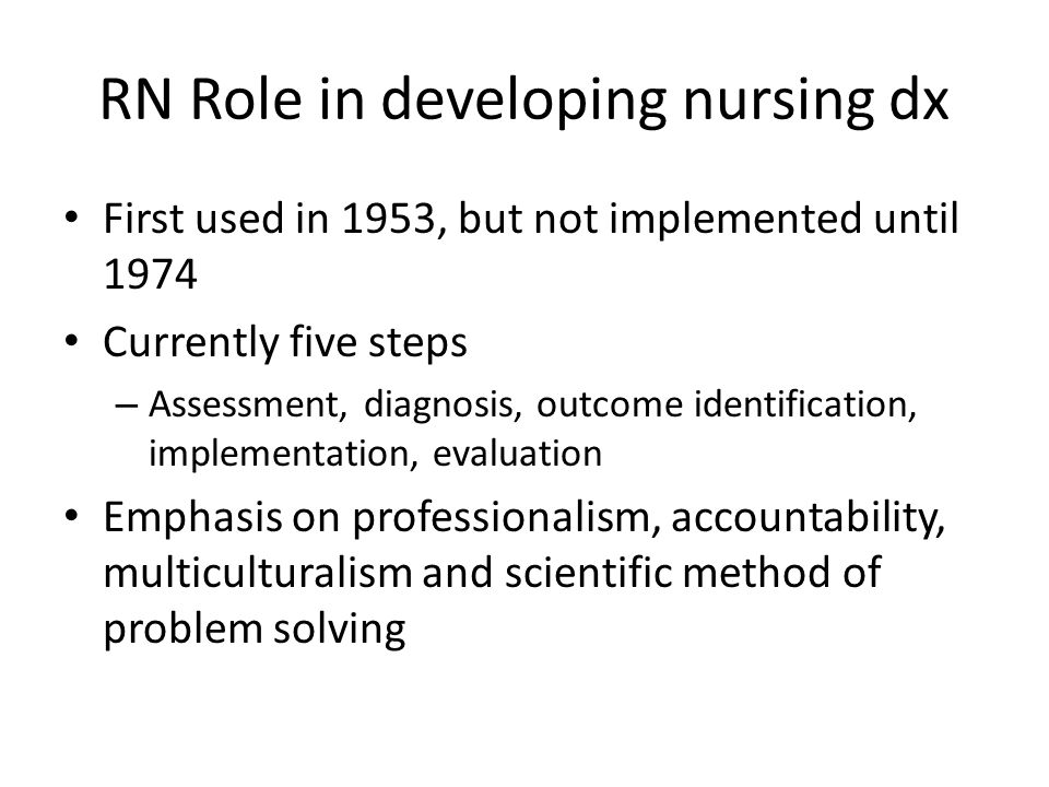 RN Role in developing nursing dx First used in 1953, but not implemented until 1974 Currently five steps – Assessment, diagnosis, outcome identification, implementation, evaluation Emphasis on professionalism, accountability, multiculturalism and scientific method of problem solving