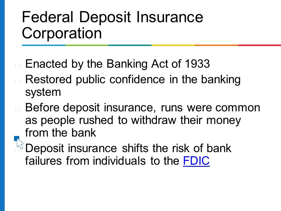 Enacted by the Banking Act of 1933 Restored public confidence in the banking system Before deposit insurance, runs were common as people rushed to withdraw their money from the bank Deposit insurance shifts the risk of bank failures from individuals to the FDICFDIC Federal Deposit Insurance Corporation