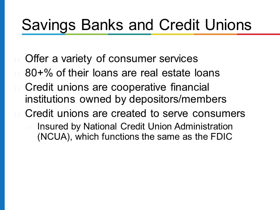 Offer a variety of consumer services 80+% of their loans are real estate loans Credit unions are cooperative financial institutions owned by depositors/members Credit unions are created to serve consumers Insured by National Credit Union Administration (NCUA), which functions the same as the FDIC Savings Banks and Credit Unions
