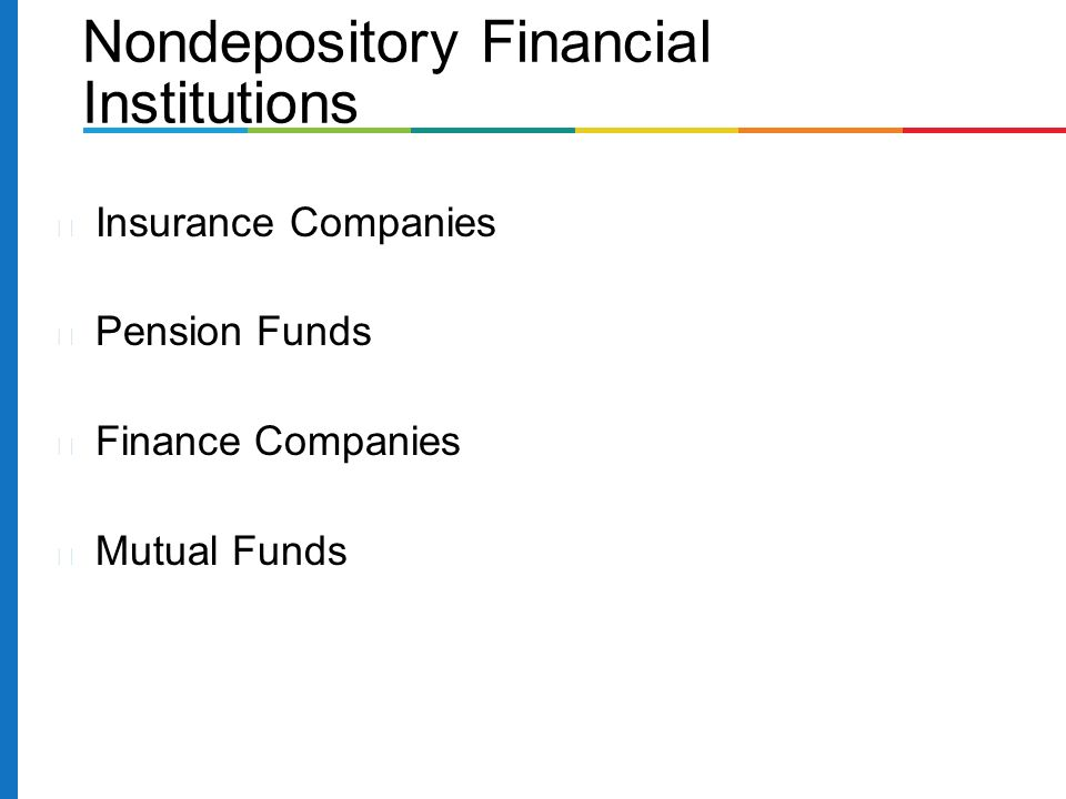Insurance Companies Pension Funds Finance Companies Mutual Funds Nondepository Financial Institutions