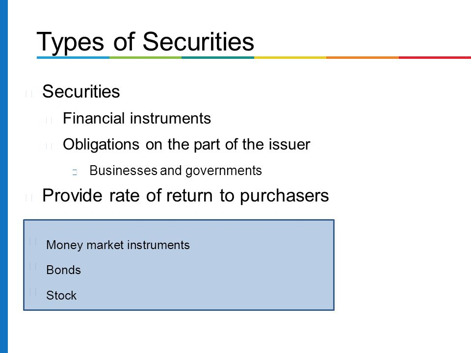 Securities Financial instruments Obligations on the part of the issuer Businesses and governments Provide rate of return to purchasers Types of Securities Money market instruments Bonds Stock