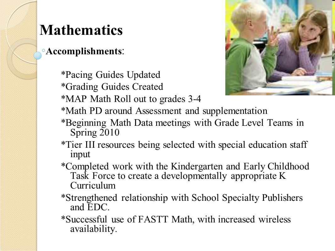 Mathematics Accomplishments : *Pacing Guides Updated *Grading Guides  Created *MAP Math Roll out