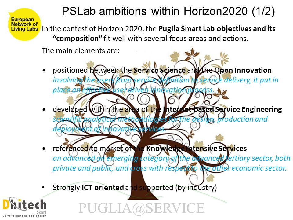 In the contest of Horizon 2020, the Puglia Smart Lab objectives and its composition fit well with several focus areas and actions.