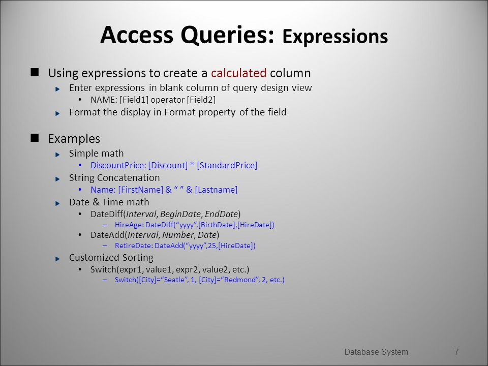 DB Implementation: MS Access Queries  MS Access Queries