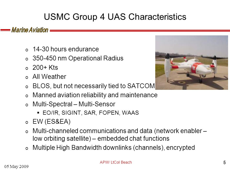 MARINE AVIATION APW / LtCol Beach 05 May 2009 Unmanned
