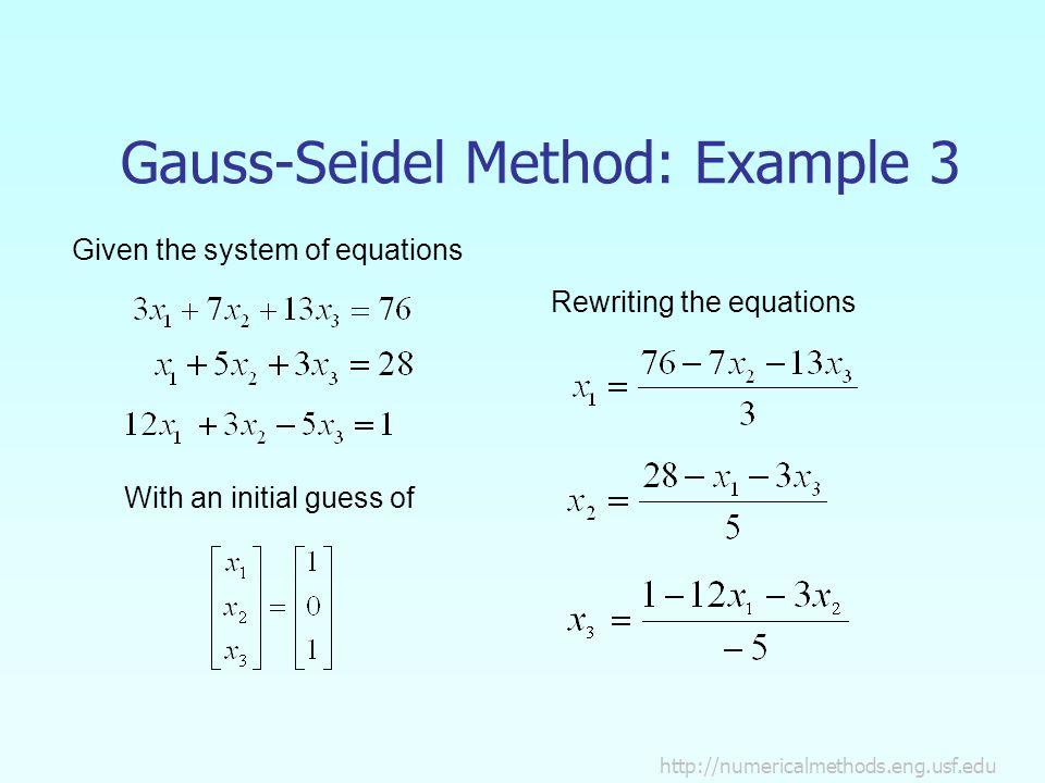 GAUSS SEIDEL EXAMPLE EBOOK