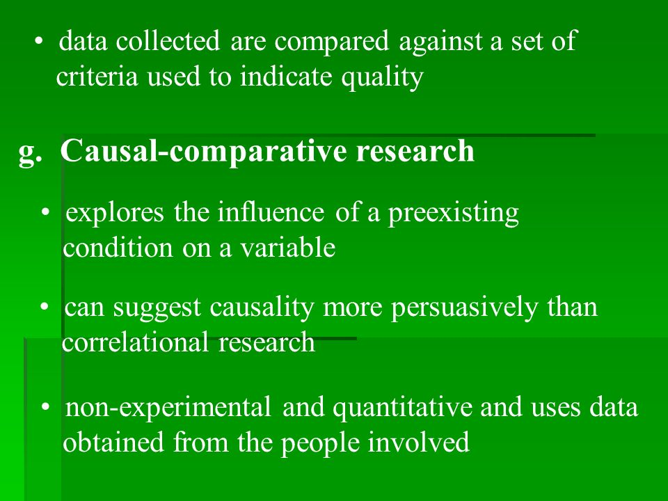 data collected are compared against a set of criteria used to indicate quality g.