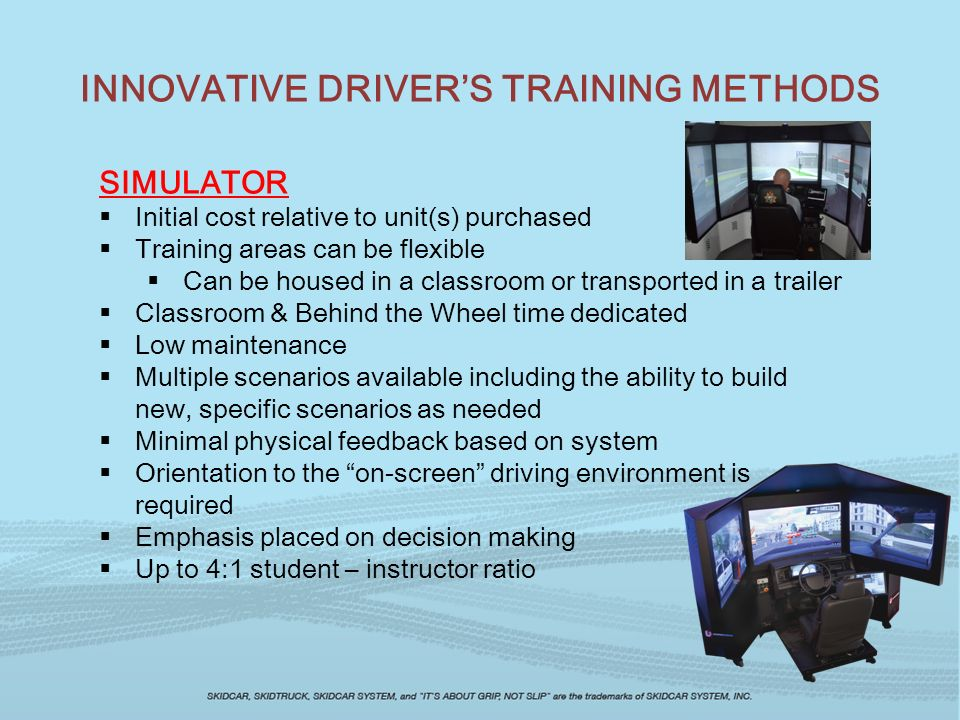 TRAINING TOOLS WORKING TOGETHER SKIDCAR and SIMULATORS USING