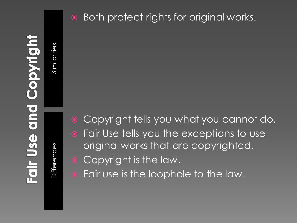 Similarities Differences  Both protect rights for original works.