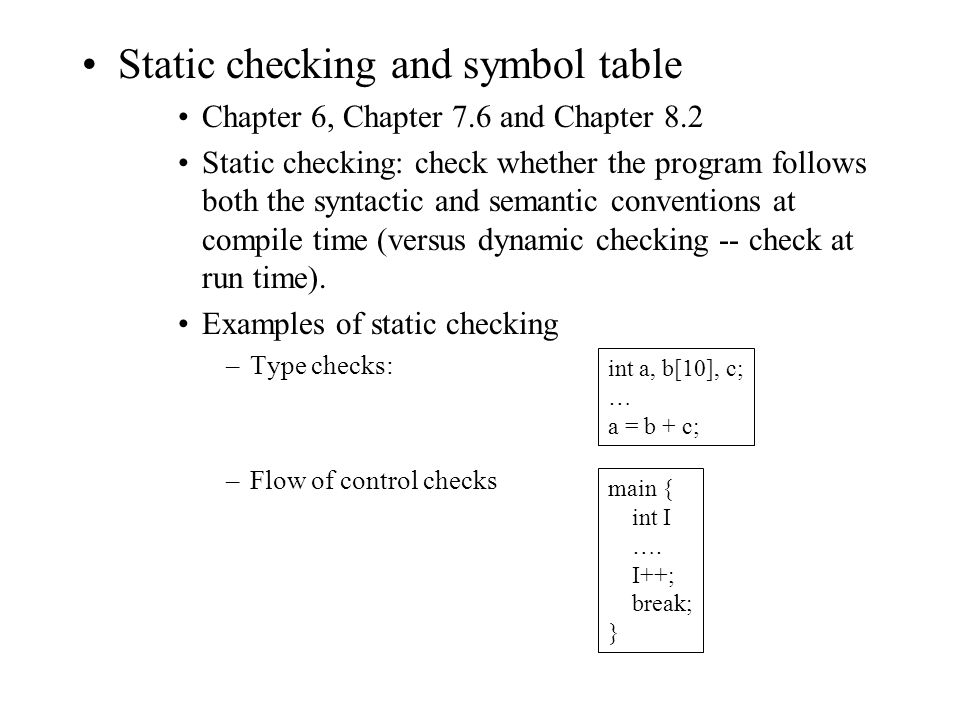 Static Checking And Symbol Table Chapter 6 Chapter 76 And Chapter