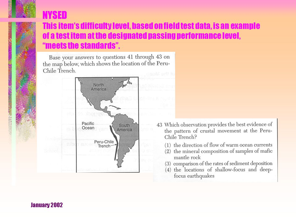 January 2002 NYSED This item's difficulty level, based on field test data, is an example of a test item at the designated passing performance level, meets the standards .