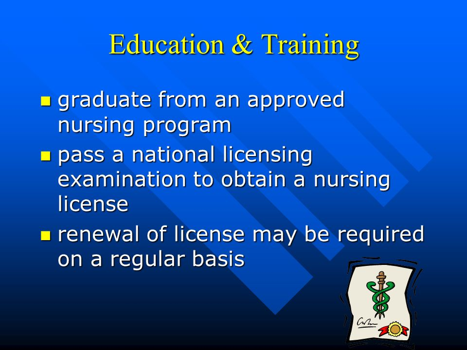 Education & Training graduate from an approved nursing program graduate from an approved nursing program pass a national licensing examination to obtain a nursing license pass a national licensing examination to obtain a nursing license renewal of license may be required on a regular basis renewal of license may be required on a regular basis