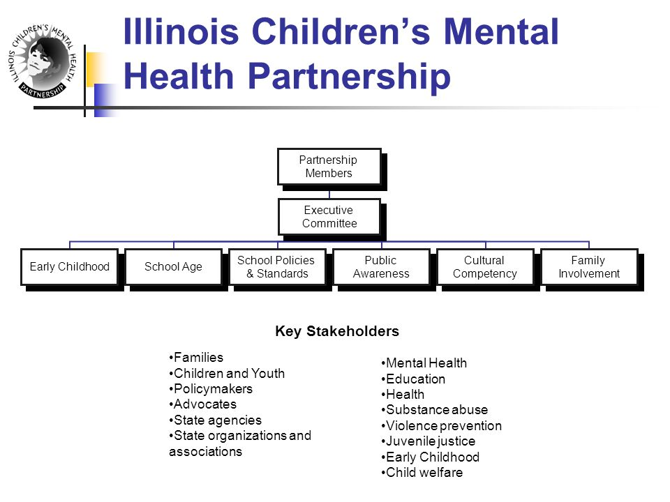Illinois Children's Mental Health Partnership Families Children and Youth Policymakers Advocates State agencies State organizations and associations Mental Health Education Health Substance abuse Violence prevention Juvenile justice Early Childhood Child welfare Key Stakeholders Partnership Members Executive Committee Early ChildhoodSchool Age School Policies & Standards Public Awareness Cultural Competency Family Involvement